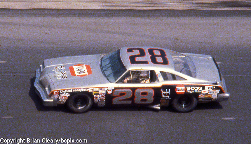 Buddy Baker, #28 Oldsmobile races to victory in the Daytona 500, Daytona International Speedway, Daytona Beach, FL, February 17, 1980.  (Photo by Brian Cleary/www.bcpix.com)