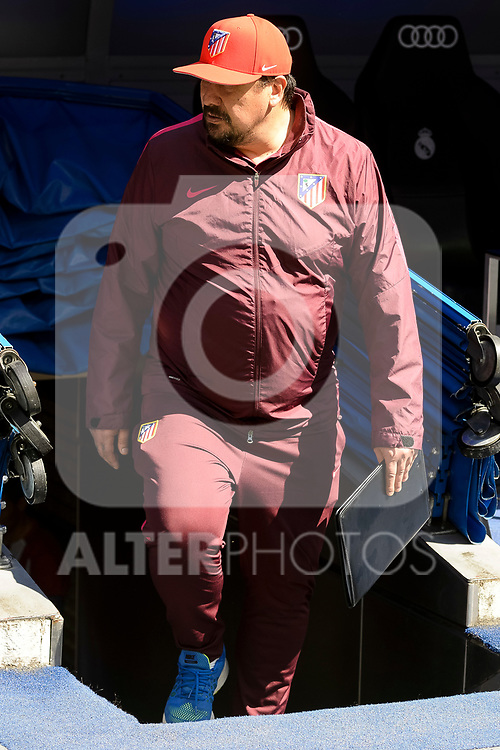 Atletico de Madrid's coach assistant Mono Burgos during La Liga match between Real Madrid and Atletico de Madrid at Santiago Bernabeu Stadium in Madrid, April 08, 2017. Spain.<br /> (ALTERPHOTOS/BorjaB.Hojas)