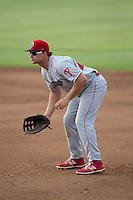 Lakewood BlueClaws first baseman Kyle Martin (27) on defense against the Kannapolis Intimidators at Intimidators Stadium on July 16, 2015 in Kannapolis, North Carolina.  The BlueClaws defeated the Intimidators 3-1.  (Brian Westerholt/Four Seam Images)