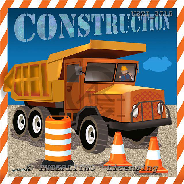 GIORDANO, TEENAGERS, JUGENDLICHE, JÓVENES, paintings+++++,USGI2715,#J# construction truck ,everyday