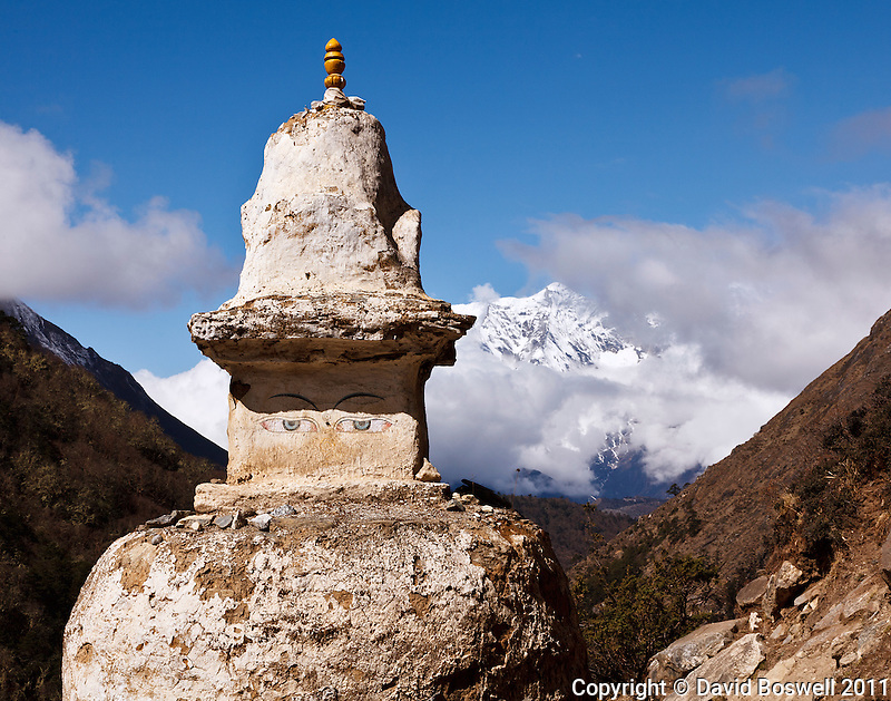 A chorten (sherpa memorial) in the Khumbu Valley, Nepal stands on the trail to Everest Base Camp.