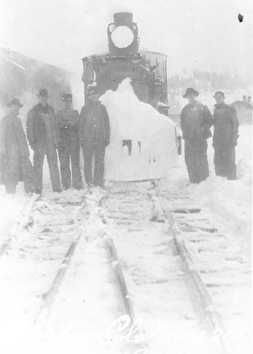 Engine with crew at Cumbres Station.<br /> D&amp;RG  Cumbres, CO  3/21/1915