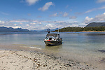Fishing boat beach on an island in Nootka Sound, British Colombia, Canada.