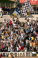 LA Galaxy fans cheering on their team after the first and only goal of the game during the second half of a friendly between LA Galaxy and Boca Juniors. The game was held at the Home Depot Center in Carson, CA on May 23, 2010. The final score was LA Galaxy 1, Boca Juniors 0.