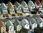 Aerial view of Row homes in Queens, New York
