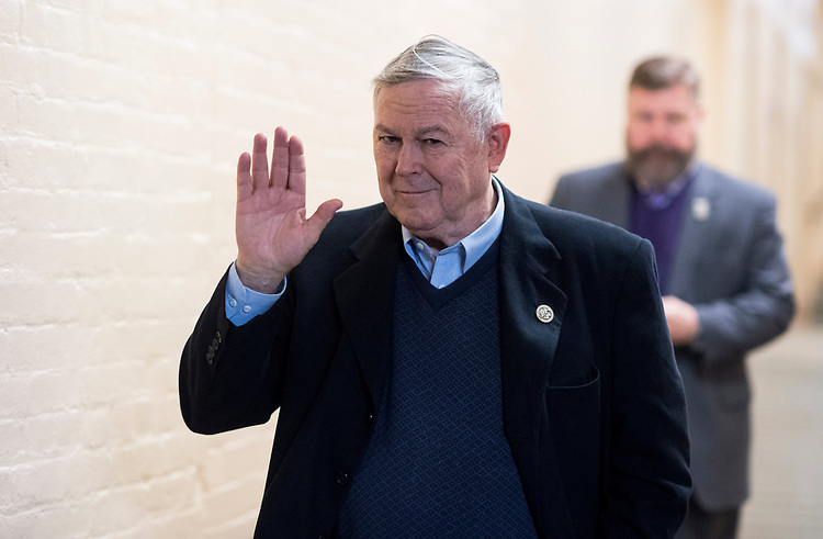 UNITED STATES - JANUARY 22: Rep. Dana Rohrabacher, R-Calif., arrives for the House Republican Conference meeting in the Capitol on Monday, Jan. 22, 2018. (Photo By Bill Clark/CQ Roll Call)