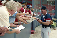 Boston Red Sox third baseman Wade Boggs (26) signs autographs during spring training circa 1991 at Chain of Lakes Park in Winter Haven, Florida.  (MJA/Four Seam Images)