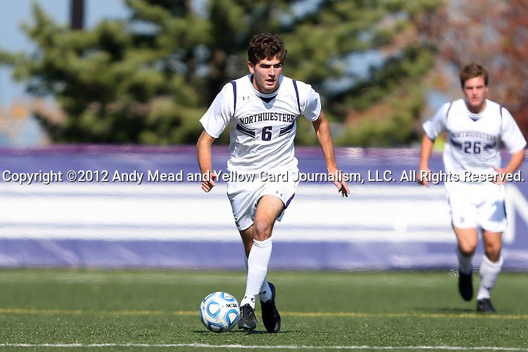 21 October 2012: Northwestern's Chris Ritter. The Northwestern University Wildcats played the Penn State University Nittany Lions at Lakeside Field in Evanston, Illinois in a 2012 NCAA Division I Men's Soccer game. Penn State won the game 1-0 in golden goal overtime.