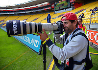 Photographer Joe Johnson on day one of the 2016 HSBC Wellington Sevens at Westpac Stadium, Wellington, New Zealand on Saturday, 30 January 2016. Photo: Dave Lintott / lintottphoto.co.nz