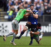 Paul Grant of Bath Rugby takes on the Harlequins defence. Gallagher Premiership match, between Bath Rugby and Harlequins on March 2, 2019 at the Recreation Ground in Bath, England. Photo by: Patrick Khachfe / Onside Images