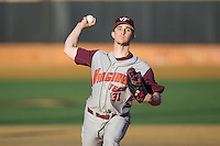 Virginia Tech Hokies starting pitcher Aaron McGarity (31) in action against the Wake Forest Demon Deacons in game two of a doubleheader at Wake Forest Baseball Park on March 7, 2015 in Winston-Salem, North Carolina.  (Brian Westerholt/Four Seam Images)