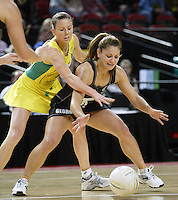 Silver Ferns Temepara George competes with Australian Natalie von Bertouch during the netball test match between the Silver Ferns v Australia played at the Sydney Superdome, Sydney Australia, 29th June 2005. The Silver Ferns on 50-43. ©Michael Bradley