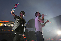 05/12/12 Carson, CA : Wiz Khalifa and Adam Levine perform during KISS FM's Wango Tango concert held at the Home Depot Center