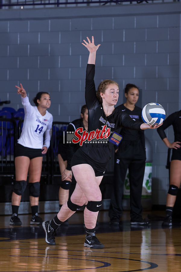 Greta Griswold (12) of the High Point Panthers serves against the Marshall Thundering Herd at the Panther Invitational at the Millis Athletic Center on September 12, 2015 in High Point, North Carolina.  The Thundering Herd defeated the Panthers 3-2.   (Brian Westerholt/Sports On Film)