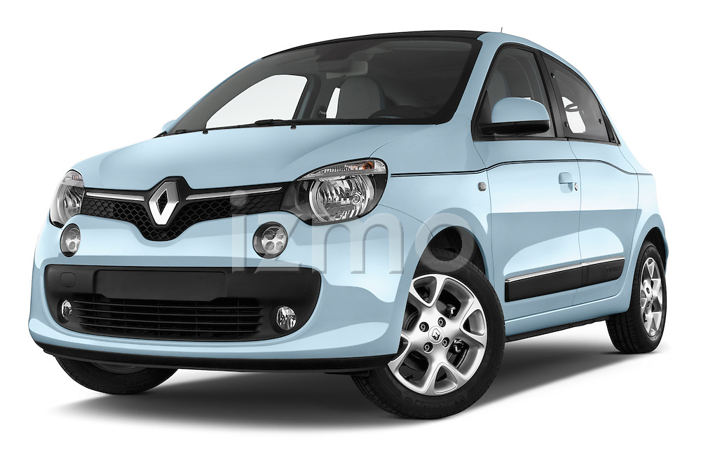 Stock pictures of low aggressive front three quarter view of a 2015 Renault Twingo Intens 5 Door Hatchback 2WD Low Aggressive