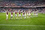 Nederland, Amsterdam, 25 maart 2012.Eredivisie.Seizoen 2011-2012.Ajax-PSV 2-0.De Spelers van Ajax juichen en vieren de overwinning op PSV met de supporters