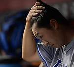 Tsuyoshi Wada (Cubs),<br /> JULY 8, 2014 - MLB : Chicago Cubs starting pitcher Tsuyoshi Wada sits in the dugout during the Major League Baseball game against the Cincinnati Reds at Great American Ball Park in Cincinnati, Ohio, USA.<br /> Japanese pitcher Tsuyosh Wada was making his major league debut.<br /> (Photo by AFLO)