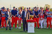 President Trump speaks to the crowd following round 4 Singles of the 2017 President's Cup, Liberty National Golf Club, Jersey City, New Jersey, USA. 10/1/2017. <br /> Picture: Golffile | Ken Murray<br /> <br /> All photo usage must carry mandatory copyright credit (&copy; Golffile | Ken Murray)