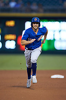 Kevin Padlo (15) of the Durham Bulls takes off for third base against the Charlotte Knights at BB&T BallPark on July 31, 2019 in Charlotte, North Carolina. The Knights defeated the Bulls 9-6. (Brian Westerholt/Four Seam Images)