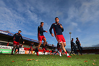 Stevenage players warm up during Stevenage vs Notts County, Sky Bet EFL League 2 Football at the Lamex Stadium on 11th November 2017
