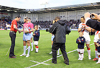 PICTURE BY VAUGHN RIDLEY/SWPIX.COM - Rugby League - 2013 International Origin - England v Exiles - Halliwell Jones Stadium, Warrington, England - 14/06/13 - Match Ball delivery to Referee Richard Silverwood.