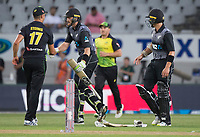 Martin Guptill is congratulated by  Markus Stonis after his great innings during the Black Caps v Australia international T20 cricket match at Eden Park in Auckland, New Zealand. 16 February 2018. Copyright Image: Peter Meecham / www.photosport.nz