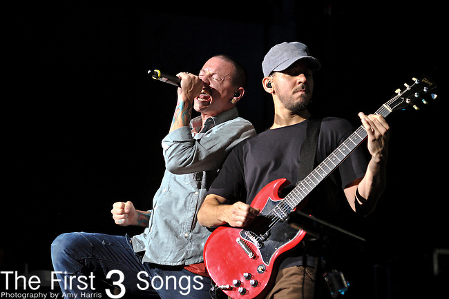 Chester Bennington and Mike Shinoda of Linkin Park perform at the Klipsch Music Center in Indianapolis, Indiana.