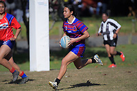 Keira-Marie Sekene (Richmond) in action during the Auckland Rugby League Girls Pilot under-17 match between Otara Scorpions and Richmond at Ngati Otara Park in Auckland, New Zealand on Saturday, 9 June 2018. Photo: Dave Lintott / lintottphoto.co.nz