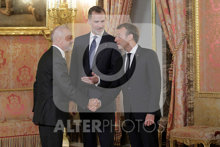 King Felipe VI of Spain (c), receives in the Royal Palace the President of the French Republic Emmanuel Macron (r) in presence of Spanish writer Arturo Perez-Reverte . July 26,2018. (ALTERPHOTOS/Acero)