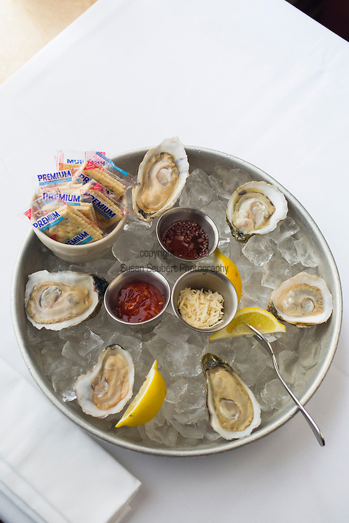 Highlands Restaurant in the Five Points South neighborhood of Birmingham, Alabama. Pictured here is a fresh, raw oyster plate with local oysters: Wellfleet (MA), Rappahannock (VA), and Pocomoke River (MD)