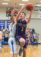 NWA Democrat-Gazette/BEN GOFF @NWABENGOFF<br /> Quinn Schach (3) of Fayetteville shoots as Garrett Dake of Rogers guards Friday, Feb. 9, 2018, in King Arena at Rogers High.