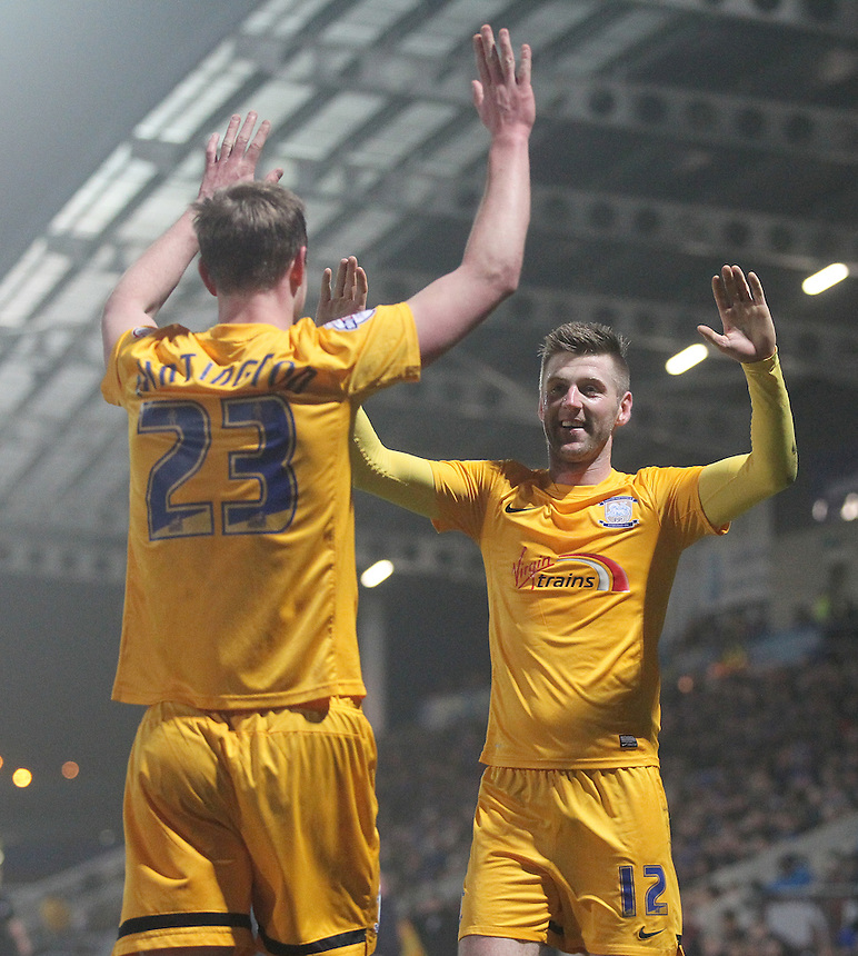 Preston North End's Paul Gallagher celebrates with  Paul Huntington<br /> <br /> Photographer Mick Walker/CameraSport<br /> <br /> Football - The Football League Sky Bet League One - Tuesday 10th February 2015 - Chesterfield v Preston North End - Proact Stadium - Chesterfield<br /> <br /> &copy; CameraSport - 43 Linden Ave. Countesthorpe. Leicester. England. LE8 5PG - Tel: +44 (0) 116 277 4147 - admin@camerasport.com - www.camerasport.com