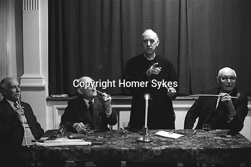 Aldermaston Candle Auction, Berkshire, England 1974. Fr L-R , C. W. 'Bill' Cox, churchwarden, Dr Allibone, who is Lord of the Manor. The Rev'd Ross Stone and  Major General Benson,churchwarden. The auction takes place every three years. (Names thanks to Dave Shirt)<br />