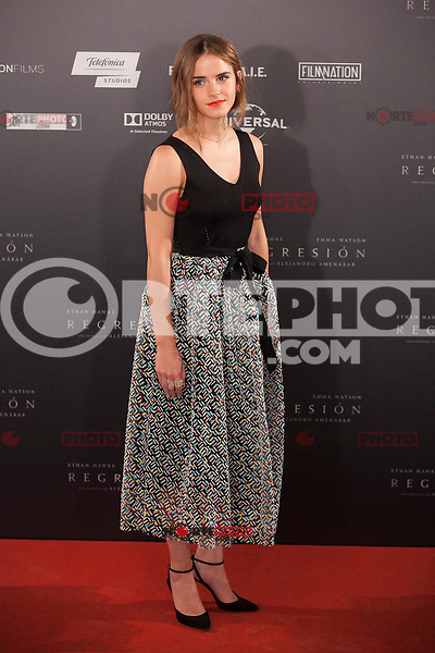 British actress Emma Watson poses during the `Regresion´ (Regression) film presentation in Madrid, Spain. August 27, 2015. (ALTERPHOTOS/Victor Blanco)