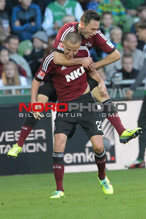 29.09.2013, Weser Stadion, Bremen, GER, 1.FBL, Werder Bremen vs 1. FC Nuernberg, im Bild<br /> <br /> Jubel 3 zu 3 <br /> Josip Drmic (Nuernberg #18)<br /> mit  Josip Drmic (Nuernberg #18)<br /> <br /> <br /> Foto &copy; nph / Kokenge