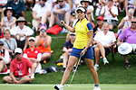 DES MOINES, IA - AUGUST 19: Europe's Georgia Hall reacts after rolling in her winning putt on the 17th hole of their match, Saturday at the 2017 Solheim Cup in Des Moines, IA. (Photo by Dave Eggen/Inertia)