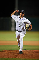 Lancaster JetHawks relief pitcher Salvador Justo (35) delivers a pitch during a California League game against the Visalia Rawhide at The Hangar on May 17, 2018 in Lancaster, California. Lancaster defeated Visalia 11-9. (Zachary Lucy/Four Seam Images)