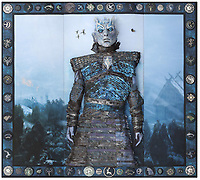 BNPS.co.uk (01202 558833)<br /> Pic: Ewbanks's/BNPS<br /> <br /> The complete Game of Thrones embroidery<br /> <br /> A giant Game of Thrones embroidery which was commissioned to promote the popular fantasy TV show has sold for £3,000.<br /> <br /> The unique 10ft by 10ft piece, titled 'The Hardhome Embroidery', took 140 people over 30,000 hours to stitch together.<br /> <br /> It depicts a battle between the White Walker army and the people of the Wildling town of Hardhome.<br /> <br /> The Night King is the central figure, with his eyes illuminated by LED lights.