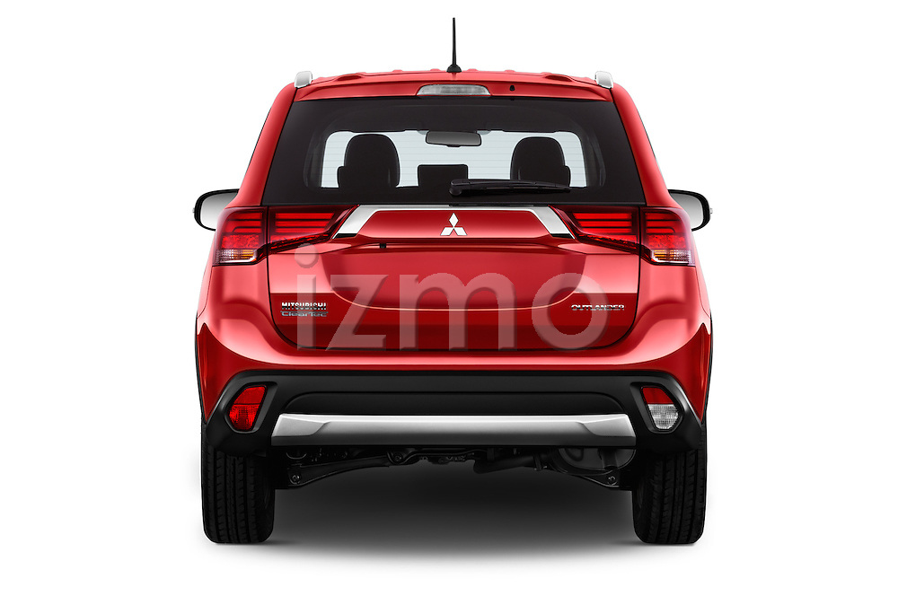 Straight rear view of 2016 Mitsubishi Outlander Intense Premium 5 Door SUV Rear View  stock images