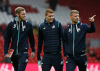 Oliver McBurnie, ,Jay Fulton and Stephen Kingsley of Swansea City prior to kick off of the Premier League match between Liverpool and Swansea City at Anfield, Liverpool, Merseyside, England, UK. Saturday 21 January 2017