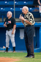 Harrison Jones, a long time fan in Burlington, sings the National Anthem prior to the start of the Appalachian League game between the Bluefield Orioles and the Burlington Royals at Burlington Athletic Park in Burlington, NC, Saturday, July 26, 2008. (Photo by Brian Westerholt / Four Seam Images)