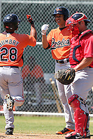 Baltimore Orioles minor league shortstop Manny Machado #3 greets Steve Bumbry #28 after a home run during a spring training game vs the Boston Red Sox at the Buck O'Neil Complex in Sarasota, Florida;  March 22, 2011.  Photo By Mike Janes/Four Seam Images