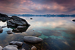 Rocks along the East Shore of Lake Tahoe rise from the tranquil waters of this majestic and peaceful high alpine lake.