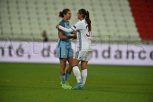 29th April 2017, Lyon, Frace; UEFA Womens Champions league football, Olympique Lyonnais versus Manchester City ladies;   Alex Morgan (lyon) consoles Carli Lloyd (manchester city)