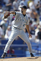 Graeme Lloyd of the Florida Marlins pitches during a 2002 MLB season game against the Los Angeles Dodgers at Dodger Stadium, in Los Angeles, California. (Larry Goren/Four Seam Images)