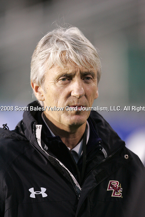 14 November 2008: Boston College's head coach Ed Kelly. The University of Maryland defeated Boston College 1-0 at WakeMed Stadium at WakeMed Soccer Park in Cary, NC in a men's ACC tournament semifinal game.