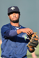 Second baseman Luis Carpio (18) of the Columbia Fireflies works out before a game against the West Virginia Power on Friday, May 19, 2017, at Spirit Communications Park in Columbia, South Carolina. West Virginia won, 3-1. (Tom Priddy/Four Seam Images)