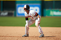 Ben Haefner (6) of the Sam Houston State Bearkats takes his lead off of first base against the Vanderbilt Commodores in game one of the 2018 Shriners Hospitals for Children College Classic at Minute Maid Park on March 2, 2018 in Houston, Texas. The Bearkats walked-off the Commodores 7-6 in 10 innings.   (Brian Westerholt/Four Seam Images)