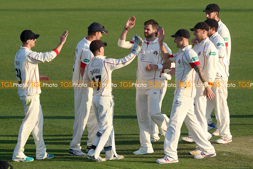Jimmy Anderson (C) of Lancashire celebrates taking the wicket of Aaron Beard during Essex CCC vs Lancashire CCC, Specsavers County Championship Division 1 Cricket at The Cloudfm County Ground on 7th April 2017