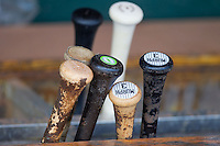 Baseball bats sit in the bat rack in the Charleston RiverDogs dugout prior to the game against the Greenville Drive at Joseph P. Riley, Jr. Park on May 26, 2014 in Charleston, South Carolina.  The Drive defeated the RiverDogs 11-3.  (Brian Westerholt/Four Seam Images)
